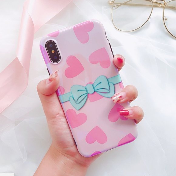 GoByte Accessories - NEW iPhone X/XS/7/8/Plus Glossy Bow Heart Case